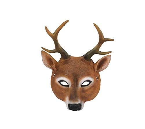 KUHFSY Luces de halloween Disfraz de máscara de Ciervo de Halloween Cosplay de Halloween para Adultos, Accesorios de decoración de Fiesta, decoración Artesanal Espeluznante Q