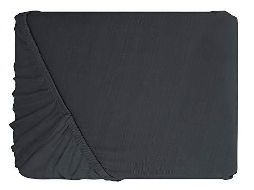 npluseins klassisches Jersey Spannbetttuch - erhältlich in 34 modernen Farben und 6 verschiedenen Größen - 100% Baumwolle, 70 x 140 cm, anthrazit