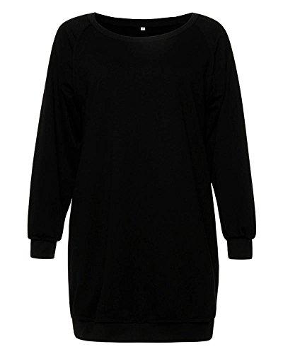 SaiDeng Femmes Pure Couleur Col Rond Loisir Loose Chandail Dress Manche Longue Pullover Noir