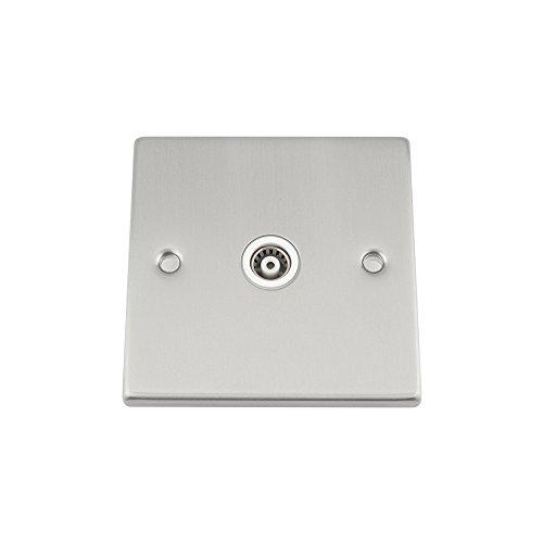 A5 products - Presa coassiale tv singola antenna 1 gruppo - piazza cromo satinato opaco - inserto bianco