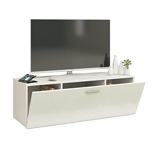 VCM TV Wand Board Fernsehtisch Lowboard Wohnwand Regal Wandschrank Schrank Tisch Hängend Weiß 40 x 115 x 36 cm
