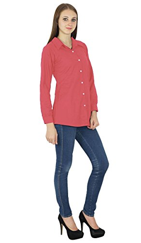 Button Down Top À Manches Longues Kurta Coton Shirt Vêtements Rose