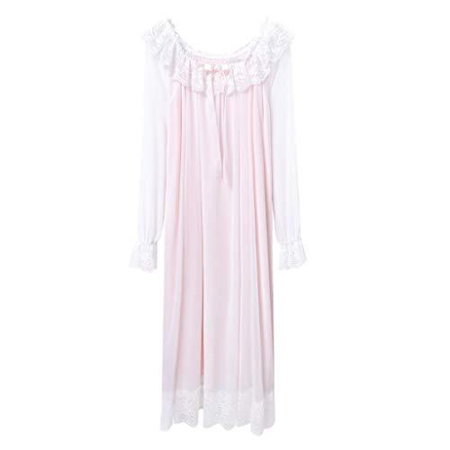 Xiaodun77 Frauen rosa Nachthemd Damen Lange Baumwolle viktorianischen Stytle für Lady Langarm Nachthemd One Word Round Neck Girl Sleepshirt,Rosa,XXL - Rosa Sleepshirt