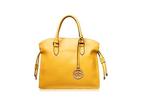 PACK Borse In Nappa Borse In Pelle Di Grande Concessione In Licenza Europa E Negli Stati Uniti Ladies Leisure Messenger Bag,E:Beige C:LemonYellow