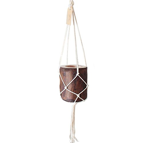 Starter Handmade Horticulture Tassel Hanging Net & Stump Flower Pot Set