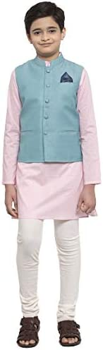 NEUDIS by Dhrohar Cotton Nehru Jacket & Long Kurta with Churi Pajama Set For Boys - Turquoise &a