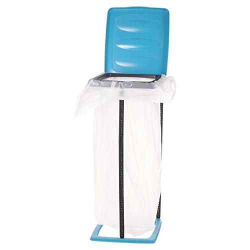 Envase de bolsa de residuos para basura grande de 15 galones, plegable con soporte de plástico.