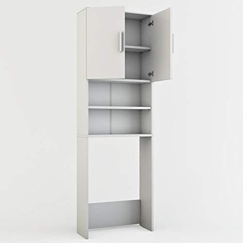 Vicco Waschmaschinenschrank 190 x 64 cm - Badregal Hochschrank Waschmaschine Bad Schrank Badezimmerschrank Überbau (Weiß)
