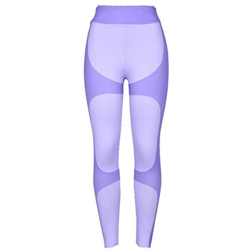 Toamen giuntura leggings per allenamento moda da donna fitness sport gym running yoga athletic pants pantaloni(viola,l)
