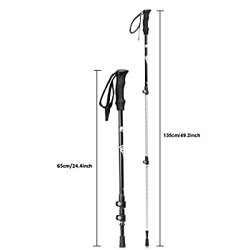 Trekking Poles Hiking Sticks, Dohiker Aviation Aluminum Hiking Poles Telescopic Walking Poles 3 Sections External Lock Adjustable For Muddy Mountain Road Snowfield (2 Packs) 5