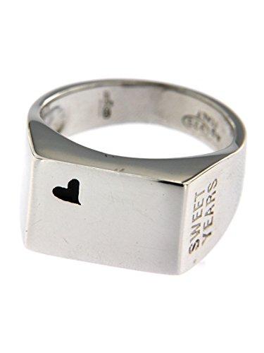 Sweet years jewels anello modello chevalier in argento 925/000 garantito con cuore e logo