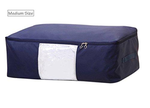 EVST Bett Kleidung Aufbewahrungstasche, Oxford kariert Tuch Aufbewahrungstasche 60x 40x 25cm blau