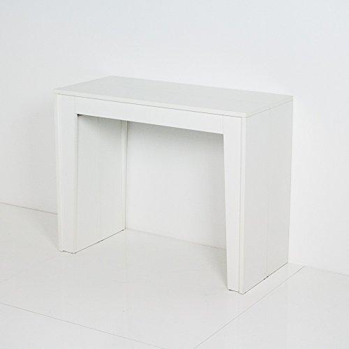 Group Design Magica - Table console extensible, fabriquée en Italie, en bois à pores ouverts, laqué en blanc, style moderne, 14 places