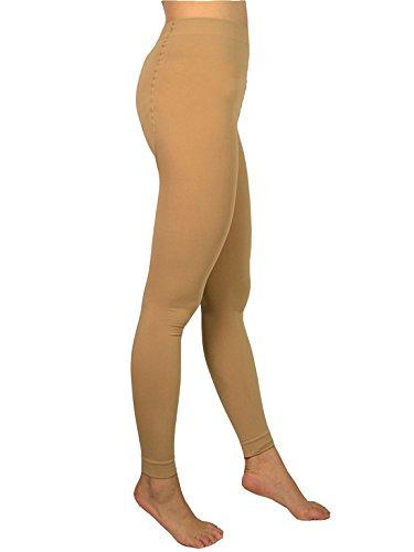 Spandex Leggings Footless Tights (AMORETU Damen Blickdichte Microfaser Warme Fußlose Strumpfhose Hautfarbene 120D)