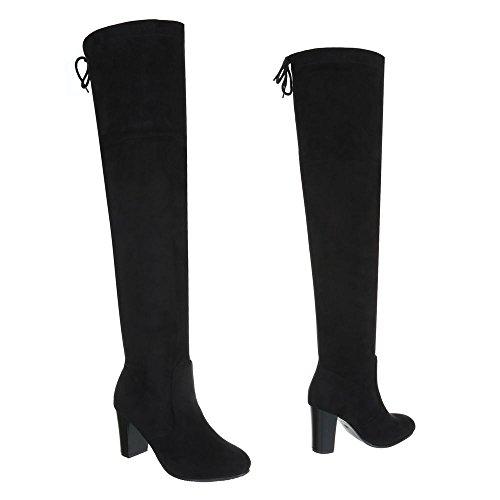 Chaussures femme Bottes et bottines Kitten-Heel Bottes Cuissardes Ital-Design Noir