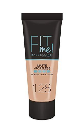 Maybelline New-York - Fond de Teint Fluide Fit Me Matte & Poreless - Peaux normales à grasses - teinte : 128 Beige Doré - 30 ml