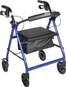DSS Aluminum Rollator with Fold Up and Removable Back Support, 28 L x 24 W x 37 H, Padded Seat, Blue by DSS