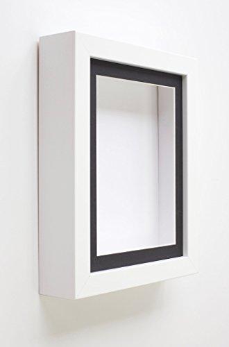 Tailored Frames White Shadow Box Rahmen (808) Deep Box Frames für Baby 3D Objekte Andenken & Display mit Schwarz Oder Weiß ist passepartoutfähig, Black Mount, 10x8 for 8x6 -