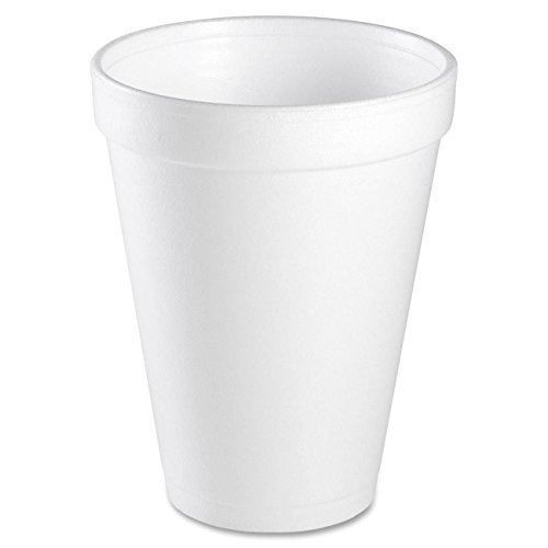 12 Oz White Foam Cups (Dart 12J12, 3.5 Top & 2.1 Bottom Diameter, 4.4 Height, White Insulated Foam Cup, 12 oz by DART)