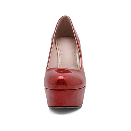 COOLCEPT Femmes Mode Talon Aiguille Talons hauts Escarpins Chaussures Briller For Soiree Rouge