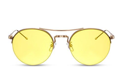 Cheapass Sonnenbrille Rund Gold Gelb UV-400 Metall Damen Herren