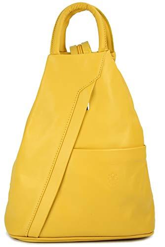 Belli 'City Backpack leichte ital. Leder Rucksack Handtasche - Farbauswahl - 29x32x11 cm (B x H x T) (Gelb)