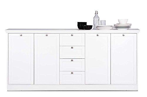 Sideboard in weiß, 4 Schubkästen, 4 Türen, 4 breite Einlegeböden,Metallknöpfe im Vintage-Look,Maße: B/H/T ca. 200/90/40 cm
