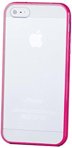 iCues Apple iPhone SE / 5S / 5 |  TPU Bumper mit Matte Rückseite Case Mint Grün | [Display Schutzfolie Inklusive] Transparent Klarsichthülle Durchsichtig Klare Klarsicht Silikon Gel Schutzhülle Hülle  Pink