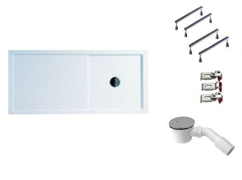 Mebasa DWSET223PF Duschwannen Set 160x75x4,5 cm inkl. Acryl Duschwanne, Duschwannenfuß, Ablaufgarnitur und Wannenanker