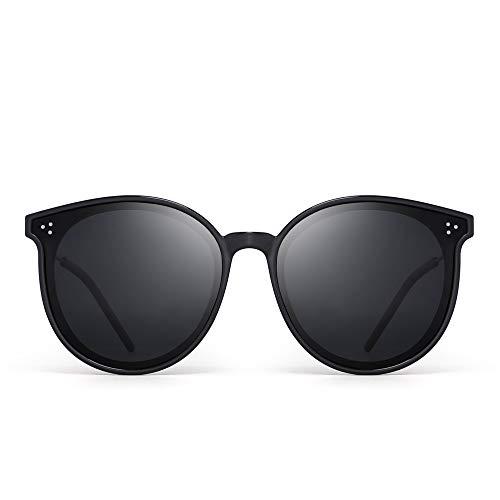 JIM HALO Polarisiert Runden Sonnenbrillen Damen Retro Overszied Kreis Linsen UV400(Schwarzer Rahmen/Polarisierte Graue Linse)