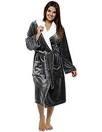 CityComfort Luxury Dressing Gown Mesdames Robe Super Douce avec Fourrure Doublée À Capuche en Peluche Peignoir pour Les Femmes-Cadeau Parfait