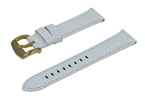 Correa de Reloj Blanca Con Relleno y Repujada con Piel de Cocodrilo de 22mm Hecha con Cuero de Becerro Italiano Con Hebilla Pulido Dorado de Acero Inoxidable