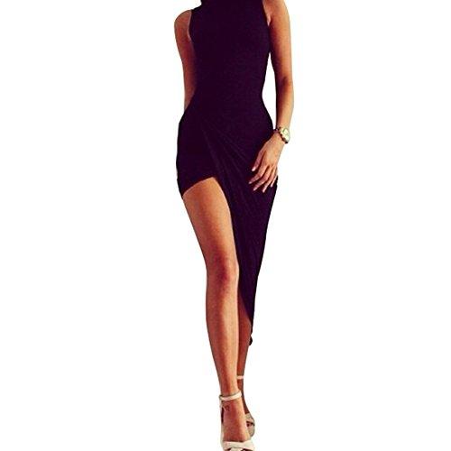 Da donna Sexy nero maxi vestito partito di sera vestito estivo vestito sottile Black Small