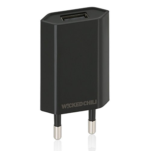Wicked Chili Pro Series Netzteil - Ultra Slim - USB Adapter für Handy, Tablet, eBook Reader, Smartphone (1000 mA, 100-240V, schwarz/black)