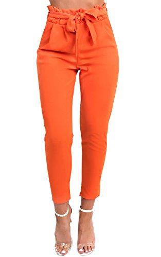 IKRUSH Women's Candy Papiertasche Band-Maßgeschneiderte Hosen in Orange Size 14 (Hosen Maßgeschneiderte Hosen)