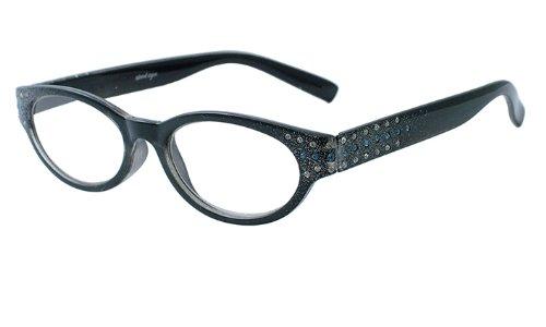 About Eyes G153 Pixie - Vergrößerung +2.50, Schwarz Bild mit blau und weiß diamante tempel bereit-zu-tragen Lesebrillen, 1er Pack (1 x 1 Stück)