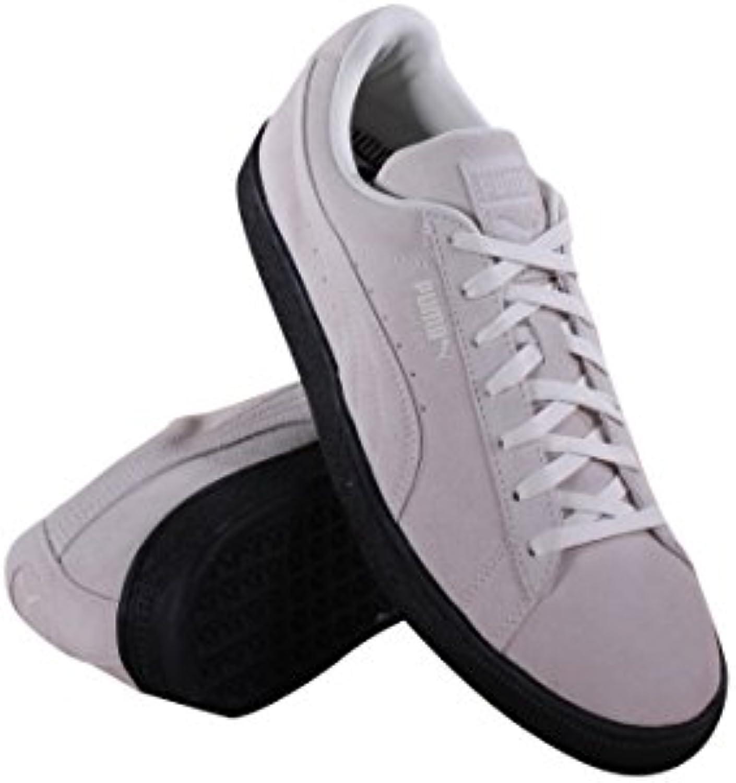 PUMA Men's Suede Black Sole Whisper White/Puma Black Athletic Shoe