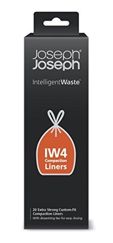 Joseph Joseph, IW4, sacchi per bidoni, compattazione intelligente dei rifiuti e dell'immondizia, capacità 30l, confezione da 20, nero