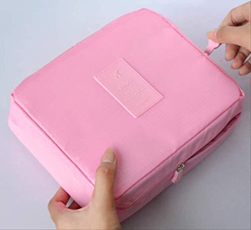 HZB Kosmetiktasche Frauen Wash Toiletry Make Up Aufbewahrungstasche Travel Kit Baghellrosa -