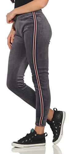 Malito Damen Freizeithose mit Seitenstreifen | Jogginghose in Samt Optik | warme Sporthose - Leggings 3374 (dunkelgrau, S/M)