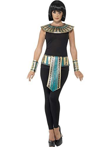 (Halloweenia - Kostüm Accessoires Zubehör Herren Damen ägyptisches Kostüm-Set mit Gürtel, Kragen und Armstulpen, perfekt für Karneval, Fasching und Fastnacht, Gold)