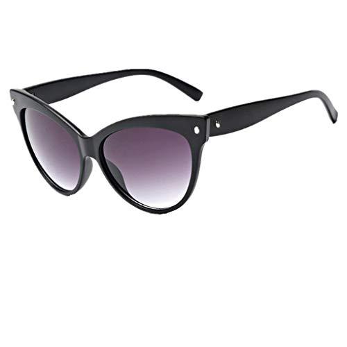 Dorical Damen Sonnenbrillen, Katzenaugen kleine ovale Sonnenbrille für Frauen Retro Metallrahmen gelb rot Vintage Sonnenbrille Sale(D)