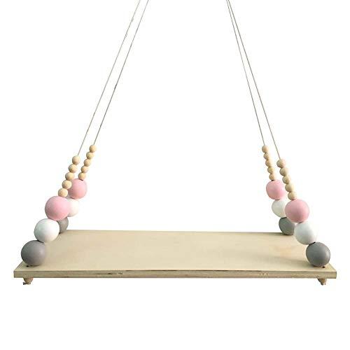 oce180anylv Nordic Style Aufbewahrungs Regal massiv Holz Kinder Kinderzimmer Dekoration, Nordic Holz Perlen Board hängende Aufbewahrung Regal Kinder Zimmer Kinderzimmer Home Wand-Decor Pink White Grey -