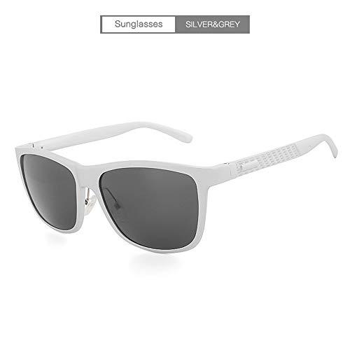 Shengjuanfeng Männer Fahren polarisierte Bunte Sonnenbrillen volle quadratische Rahmen Sport Sonnenbrillen Uv400 Küste im Freien Fahren Angeln Accessoires (Color : Sliver+Gray)