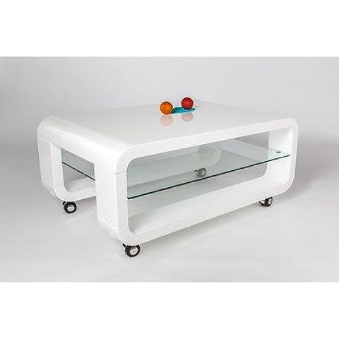 HL Design 01-12-623, 1 Mesa de centro Luke grosor del material 40 mm, soporte de 6 mm, cristal de seguridad, cristal, ruedas visible, 90 x 50 x 40 cm, lacada en blanco