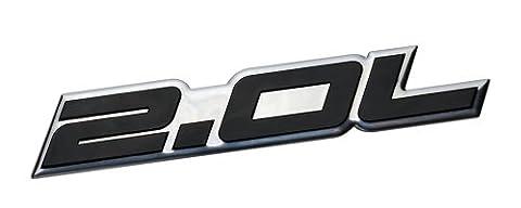 2.0L Liter Embossed BLACK on Highly Polished Silver Real Aluminum Auto Emblem Badge Nameplate for Ford Edge Escape SEL Escort Explorer Focus SE SES ZX3 ZX4-SE ST SVT Fusion Transit XL XLT Dodge Colt Ram 50 Dart Rallye SE Aero Caliber SE Express Neon ES SXT Avenger Intrepid Plymouth Laser Neon Jeep Patriot Latitude 4WD Compass VVT DOHC Chevrolet Chevy Cobalt HHR SS Tracker LSi Malibu LTZ Sedan coupe 2 3 4 5 2dr 3dr 4dr 5dr door hatchback turbo turbocharged