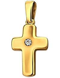 CLEVER SCHMUCK-SET Goldener kleiner Anhänger Mini Kreuz 12 mm glänzend poliert leicht gewölbt mit einem Zirkonia mittig 333 GOLD 8 KARAT im Etui