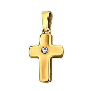 Clever Schmuck Goldener kleiner Anhänger Mini Kreuz 12 mm glänzend poliert leicht gewölbt mit einem Zirkonia mittig 333 GOLD 8 KARAT im Etui