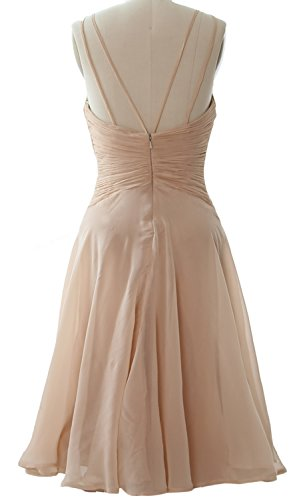 MACloth Elegant Illusion Short Cocktail Dress Chiffon Wedding Party Formal Gown Gelb