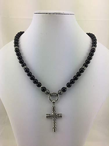 coole Kette Halskette Perlenkette die viele Promis tragen, schwarz black aus glänzenden Onyxperlen für Herren Männer Frauen Damen, mit oder ohne Anhänger Kreuz K_120 (Pearl-kreuz-armband)